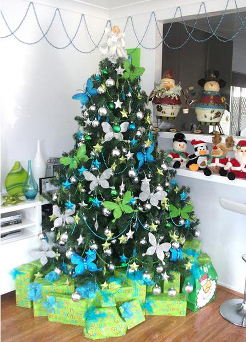 modern christmas tree with butterflies - Green Christmas Tree Decorations