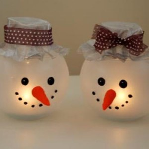 christmas snowman candle holder
